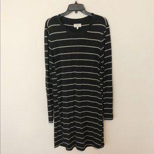 Lou & Grey Long Sleeve Gray Striped T Shirt Dress